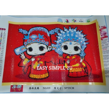 [Ready Stock] (Without Frame) Completed 5D Fully Drill Diamond Painting Red Traditional Wedding Couple Wall Art Finished