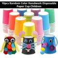 [Ready Stock] (10pcs Random Color) Colorful Disposable Paper Cup Plain Solid DIY Handwork Art Craft Holiday Education